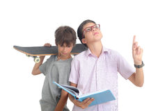 Nerd and skater Royalty Free Stock Photography