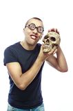 Nerd and skull Stock Photo