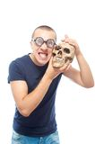 Nerd and skull Stock Photography