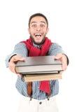 Nerd som poserar med böcker royaltyfri fotografi