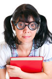 Nerd Student Girl with Textbooks Stock Images