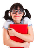 Nerd Student Girl with Textbooks Stock Image