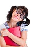 Nerd Student Girl with Textbooks Stock Photos