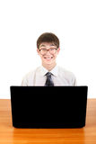 Nerd Student with Laptop Royalty Free Stock Image