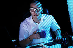 Nerd Surfing Internet At Night Time Royalty Free Stock Photos