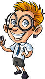 Nerd sveglio del fumetto con il telefono cellulare Immagini Stock Libere da Diritti
