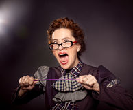 Nerd teacher  or boss screaming Royalty Free Stock Photo