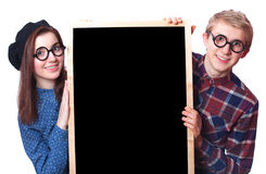 Nerd teens Stock Photos
