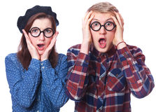 Nerd teens Royalty Free Stock Photos