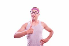 Nerd with thumbs up Royalty Free Stock Photo