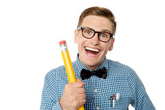 Nerd university student laughing Stock Photography