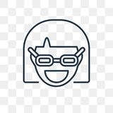 Nerd vector icon isolated on transparent background, linear Nerd royalty free illustration