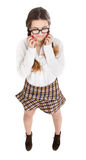 Nerd in white background crying Stock Photography