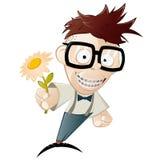 Nerd will flower illustration. Illustration of nerd with flower isolated on white Stock Photos