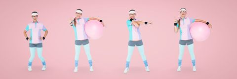 Nerd woman exercising collage against pink background. Digital composite of Nerd woman exercising collage against pink background Royalty Free Stock Photos