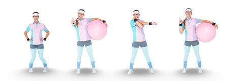Nerd woman exercising collage. Digital composite of Nerd woman exercising collage Stock Photos