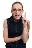 Nerd woman has an idea Stock Image