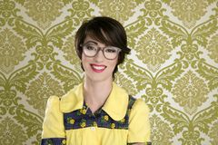 Nerd woman retro portrait 70s wallpaper Stock Image