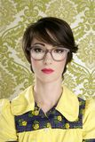 Nerd woman retro portrait 70s wallpaper Royalty Free Stock Photos