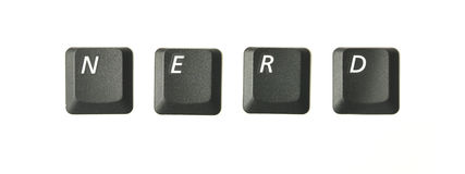 NERD. Word series from real keyboard keys depicting typical terms of reference connected to internet and IT topics. Shot overhead with soft shadows against a Royalty Free Stock Photos
