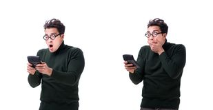The nerd young man with calculator isolated on white royalty free stock image