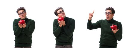 The nerd young man with piggybank isolated on white royalty free stock photography