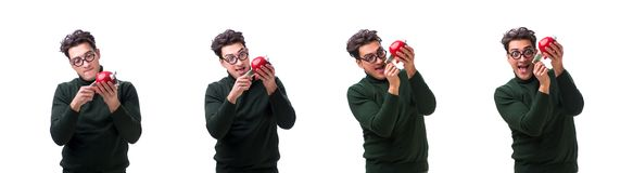 The nerd young man with piggybank isolated on white stock photography