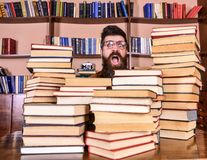 Nerdbegrepp Läraren eller studenten med skägget bär glasögon, sitter på tabellen med böcker som är defocused Man nerd på arkivbilder