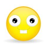 Nerdemoji Gelukkige emotie Konijnglimlach emoticon De stijl van het beeldverhaal Het vectorpictogram van de illustratieglimlach Royalty-vrije Stock Afbeelding