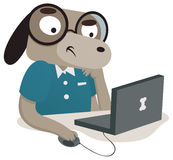 Nerdhund genom att använda en dator Fotografering för Bildbyråer