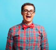 Nerdl-Mann im Hemd Stockfoto