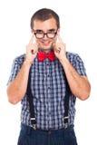 Nerdman i glasögon Arkivfoto