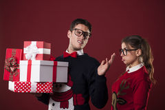 Nerds on Christmas time Royalty Free Stock Image