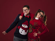 Nerds with funny sweates Stock Photography