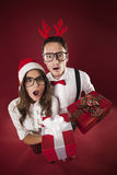 Nerds with gifts Stock Image