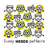 Nerds icon set pattern with funny faces in glasses pencil, lamp, cat etc. royalty free illustration