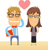 Nerds in love. Nerd and Geek couple in love both with thick rimmed glasses illustration stock illustration