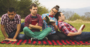 Nerds in the park Royalty Free Stock Photography