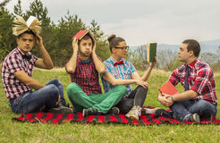 Nerds in the park Stock Image