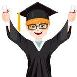 Nerdstudent Graduation Boy Stock Afbeelding