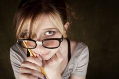 nerdy όμορφες νεολαίες κορ&iota Στοκ Εικόνες