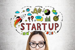 Nerdy Asian girl and a start up sketch Stock Image