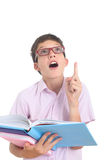 Nerdy boy with books Stock Photo