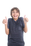 Nerdy boy showing thumbs up Royalty Free Stock Images