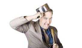 Nerdy Businessman With Cooking Utensils Stock Photo
