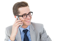 Nerdy businessman on a phone call Stock Images