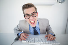 Nerdy businessman working on computer Stock Image