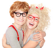 Nerdy couple Royalty Free Stock Image
