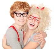 Nerdy couple Royalty Free Stock Image