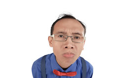 Nerdy and crazy man confused expresion. Isolated over white background Stock Photography